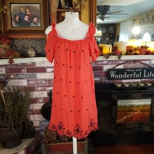 ❤LOVE TREE 100% RAYON RED EMBROIDERED MIDI S